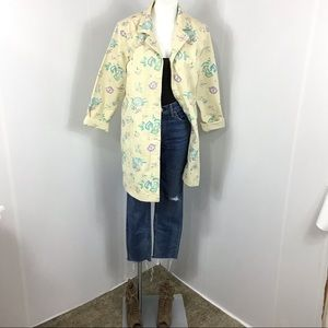 Denim & Co Denim Embroidered Trench Coat Size M
